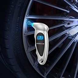 3 In 1 FORTEM Digital Tire Pressure Gauge Monitor 100 PSI + LED Flashlight - Ideal for Car, Truck, Bike & Motorcycle (Silver)