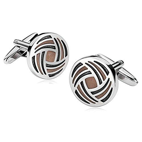 (Mens Cufflinks Stainless Steel Enamel Round Spiral Lines Light Brown 1.8X1.8CM Dad Unique Jewelry Box Fancy Elegant Aooaz)