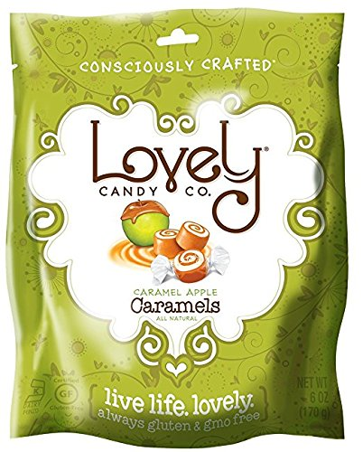 Caramel Apple Caramels - Lovely Co. 6oz Bag - Old Fashioned Style, Authentic, Soft and Chewy Candies - All-Natural, Non-GMO, Soy & HFCS- Free, Gluten-Free, Kosher   *THE BEST CARAMELS ON AMAZON!* (Caramel Natural)