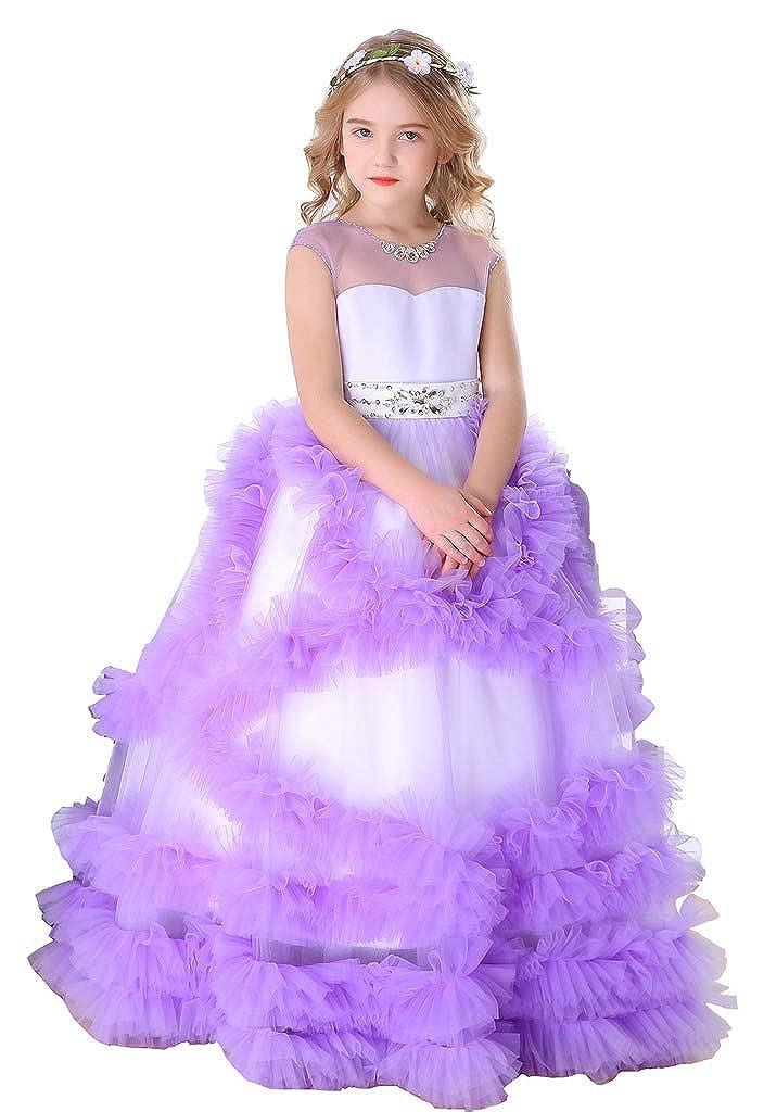 Violet 8_ans Bow Dream Pierre Tulle Robe de Fille d'Honneur Cérémonie de Mariage