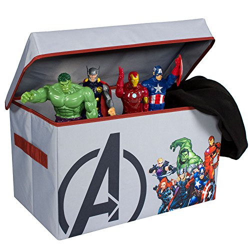 Avengers Collapsible Kids Toy Storage Chest by Marvel - Flip-Top Toy Organizer Bin for Closets, Kids Bedroom, Boys & Girls Toys - Foldable Toy Basket Organizer with Strong Handles & Design by Everything Mary