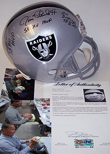 Marcus Allen / Jim Plunkett / Fred Biletnikoff Autographed Hand Signed Raiders Full Size Football Helmet - with SB MVP Inscriptions - PSA/DNA