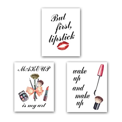 Homdeco Fashion Watercolor Prints Fashion Women Art Print Set of 3 (10\u201dX8\u201d)  Canvas Cosmetic Red Lips with Inspirational Quotes Art Painting Makeup