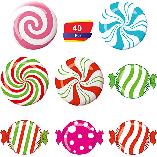 40 Pieces Peppermint Colorful Candies Cutouts Classroom Decoration Sweet Peppermint Cutouts with Glue Point Dots for Winter Bulletin Board Classroom School Christmas Party, 5.9 x 5.9 Inch (Classroom Party Christmas Decorations)