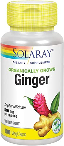 Solaray Organically Grown Ginger Root 540mg Healthy Cardiovascular, Digestive, Joint Menstrual Cycle Support Vegan Non-GMO 100 VegCaps