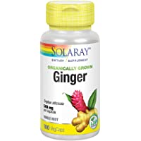 Solaray Organically Grown Ginger Root 540mg | Healthy Cardiovascular, Digestive, Joint & Menstrual Cycle Support | Vegan & Non-GMO | 100 VegCaps