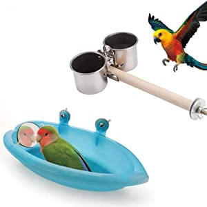 Bird Perch with Feeder Cups and Bathtub with Mirror Toy, 2 PCS Bird Cage Accessories for Small Parrots Parakeet Cockatiel Conure Lovebird Finch Budgie, Best Match