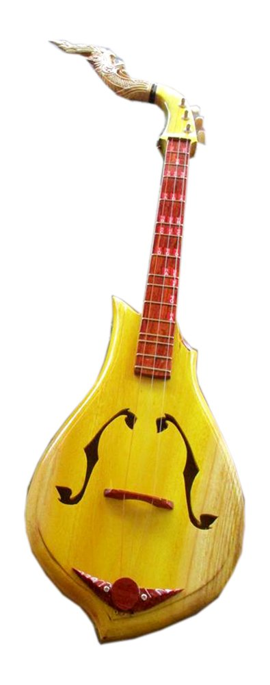 Isarn Acoustic Phin 3 Strings, Thai Lao Guitar Musical Instrument, Traditional Thai Musical Pin50
