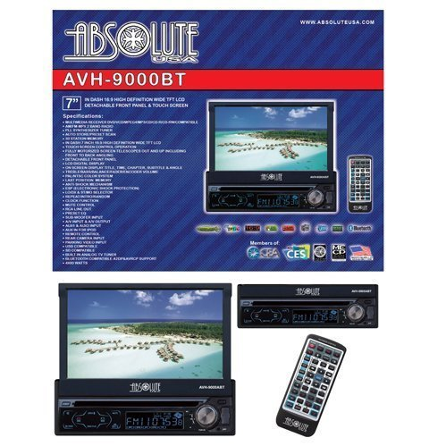 Absolute AVH-9000BT 7-Inch In-Dash Multimedia Touch Screen System with Detachable Front Panel Face, USB/SD Slot and Bluetooth