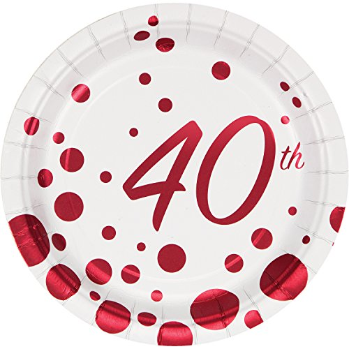 40th Anniversary Plates - Sparkle and Shine Ruby Foil 40th Anniversary Dessert Plates, 24 ct