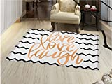 smallbeefly Live Laugh Love Door Mat indoors Motivational Calligraphic Artwork with Zigzags Chevron Stripes Customize Bath Mat with Non Slip Backing Black White and Peach