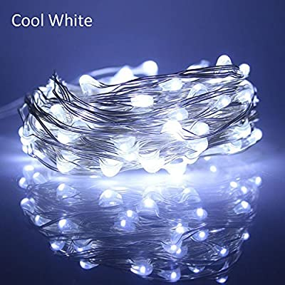 8 Pack Fairy String Lights Battery Powered,abtong Micro LED String Light Copper Wire Light for Weddin Holiday Party Christmas Decor Light ,Cool White 20Leds 2M/6.56ft