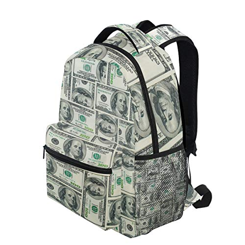 KVMV Dollar Bills of United States Federal Reserve with The Portrait Ben Franklin(1) Lightweight School Backpack Students College Bag Travel Hiking Camping Bags