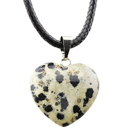 FOY-MALL Fashion Natural Dalmatian Jasper Heart Pendant Necklace (Dalmatian Halloween Costume Diy)