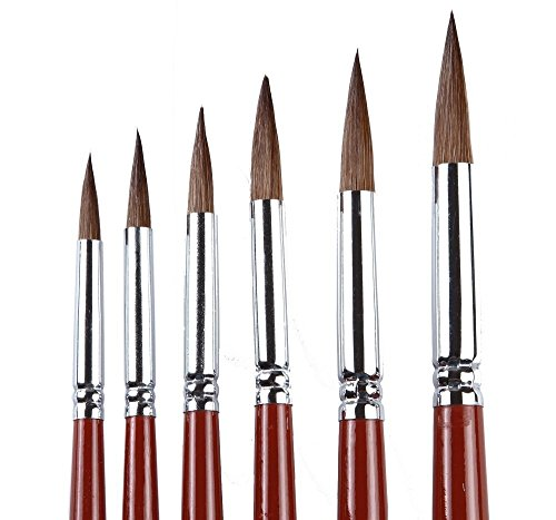 Artist Paint Brushes - Top Quality Red Sable (Weasel Hair) Long Handle, Round Paint Brush Set For Watercolor, Acrylic and Oil Painting. (Liner Long Kolinsky)