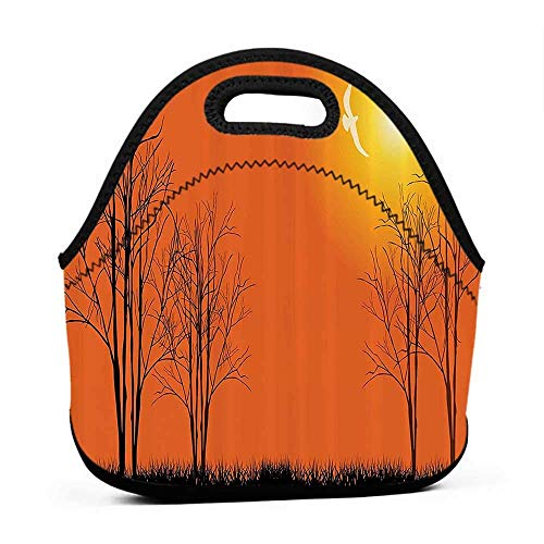 for Womens Mens Boys Girls Scenery Decor,Sunshine Colored Trees Big Sun with Trees on a Grass Landscape Art,Orange and Black,seahawks lunch bag for men