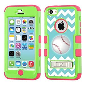One Tough Shield ? Hybrid 3-Layer Kick-Stand Case (Lime / Electric Pink) for Apple iPhone 5C - (Chevron/Teal/Baseball)
