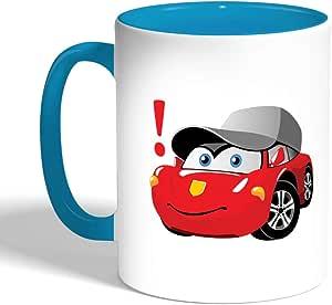كوب سيراميك للقهوة، لون تركواز، بتصميم شخصيات كرتونية - سيارة
