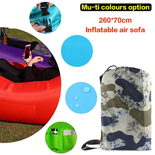 Gaduge Outdoor Inflatable Lounger & Pool Chair, Hangout Sofa & Inflatable Couch for Bedroom, Floats on Water Includes Pockets, Comfy Headrest, Bottle Opener, Stake & Bag