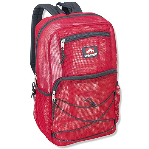 Deluxe Mesh Bungee Backpack With Padded Shoulder Straps (Red)