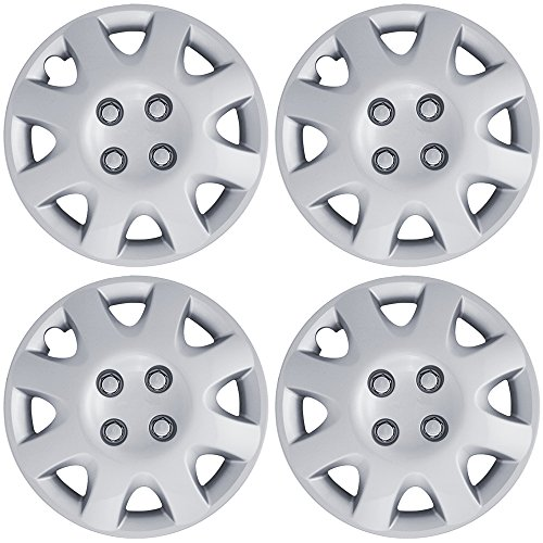 14 inch Hubcaps Best for 2006-2011 Chevrolet Aveo - (Set of 4) Wheel Covers 14in Hub Caps Silver Rim Cover - Car Accessories for 14 inch Wheels - Snap On Hubcap, Auto Tire Replacement Exterior Cap)