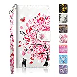Galaxy A6 2018 Case, The Grafu Wallet Case PU Leather 3D Painted Folio Flip Cover, Card Holder Stand Case with Wrist Strap for Samsung Galaxy A6 2018, Tree Cats