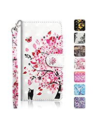 iPhone SE/iPhone 5 5S Case, The Grafu® Wallet Case PU Leather 3D Painted Folio Flip Cover, Card Holder Stand Case with Wrist Strap for Apple iPhone SE/iPhone 5 5S, Tree Cats