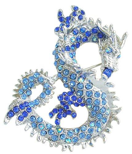 "Sindary Art Style 2.36"" Dragon Brooch Pin Pendant Austrian Crystal BZ2980 (Silver-Tone Blue)"