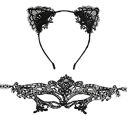 Lace Cat Ears Hair Band Fancy Dress headpiece with Masquerade (Cat Eye Halloween Makeup)