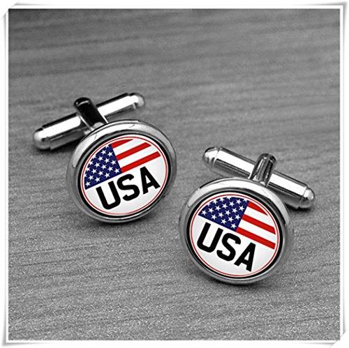 (yi sheng USA Flag Cufflinks, Star Stript Cufflinks, USA National Vintage Flage Cuff links.)