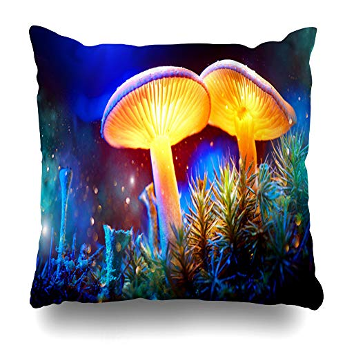 Ahawoso Throw Pillow Cover Square 18x18 Fall Blue Forest Mushroom Fantasy Glowing Mystery Dark Colour Macro Nature Magic Glow Light Design Colourful Pillowcase Home Decor Cushion Case Blue Glowing Fantasy Mushrooms
