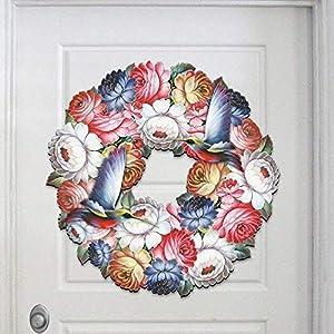 Spring Wreath - Hummingbird Zhostovo Floral Wreath - Wooden Decorative Door Hanger/Wall Decoration #8185312H 69