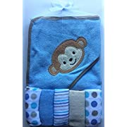 """6-piece Baby Monkey Embroidery Gift Set comes with five wash clothes 9""""x 9"""" in assorted designs and a Soft Hooded Towel 30' x 30' to keep baby dry after bathing."""
