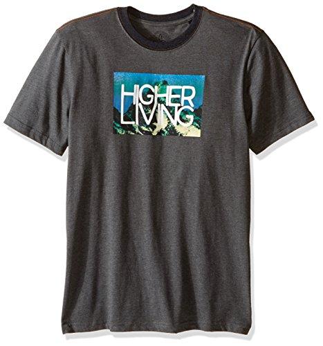 (prAna Men's Higher Living Logo Ringer T-Shirt, Medium, Charcoal)