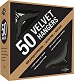 Closet Complete Premium Heavyweight, Velvet Suit Hangers – Ultra-Thin, Space Saving, No-Slip, Best For Dresses, Suits & Shirts - Black, Set of 50