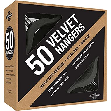 Closet Complete Velvet Hanger Set - Ultra-Thin No Slip Velvet Suit Hangers - Space Saving Clothes Hangers For Children & Adult Clothes - Great For Skirts, Dresses, Suits, Shirts & More - Slim Black Design, Set of 50