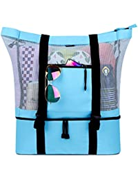 Mesh Beach Tote Bag with Detachable Beach Cooler - MAX Capacity 34L 150lbs Ultra Durable for Women