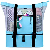 FITFORT Mesh Beach Tote Bag with Detachable Beach Cooler - MAX Capacity 34L 150lbs Ultra Durable for Women: more info