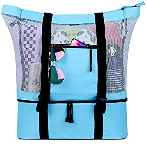 FITFORT Mesh Beach Tote Bag with Detachable Beach Cooler – MAX Capacity 34L 150lbs Ultra Durable for Women