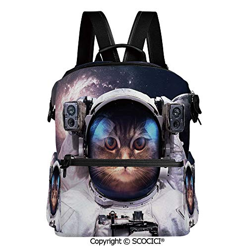 SCOCICI Stylish Bookbags Child Back to School Gift,Kitten in Galaxy Outer World with Stars Cosmology Cluster Zodiac Image,L11.4xW6.3xH15 Inches