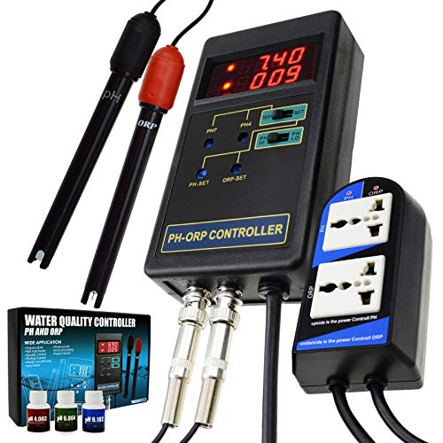 (2 in 1 Digital pH & ORP Redox Controller with Separate Relays Repleaceable Electrode BNC Type Probe Water Quality Monitor Tester)