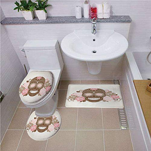 (Bath mat Set Round-Shaped Toilet Mat Area Rug Toilet Lid Covers 3PCS,Skull,Skull and Roses Dead Man in Colors Vintage Style Spooky Graphic Art Print,Chocolate Pink Cream,Printed)