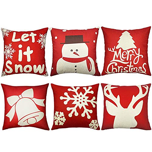 ADAWNOW 6PCS Christmas Pillow Covers 18x18 Christmas Decorations Merry Christmas Throw Pillow Cover Decorative Square Cushion Pillowcase Shams Sofa Couch Bed Car Home Décor Thanksgiving Day Xmas Gifts