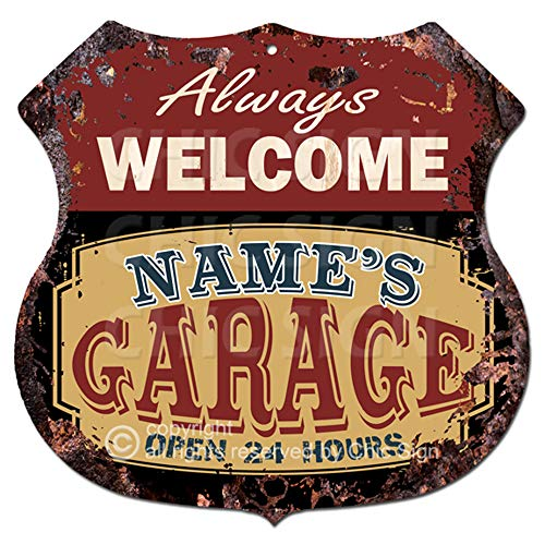 Any Name's Any Text Always Welcome Garage Custom Personalized Sign Rustic Chic Sign Vintage Retro 11.5