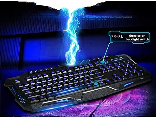 DADUIZHANG Profession Game Mechanical Wired Triple Color Backlit Illuminate Gaming Keyboard Gamer Backlight Led USB for Computer Desktop Pcblue