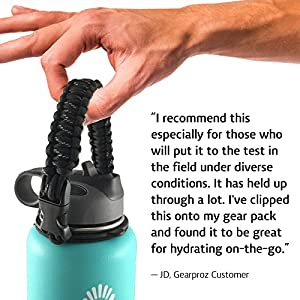 Hydro Flask and Nalgene Water Bottle Holder from Gearproz, America's #1 Choice in Paracord Handles and Accessories - Worry-free HydroCord Strap Guaranteed to Prevent Dropping (Black)