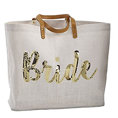 Mud Pie 8613230  Bride  Gold Sequin Tote