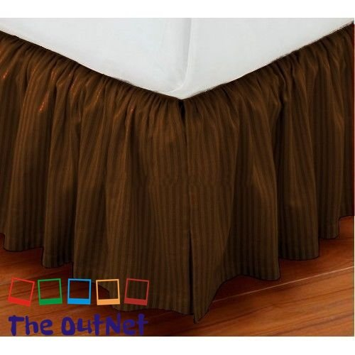 - TheOutNet Collection Egyptian Cotton 750TC 1 Piece Dust Ruffle Bed Skirt King Size 16'' Inch Drop Length Brown Striped