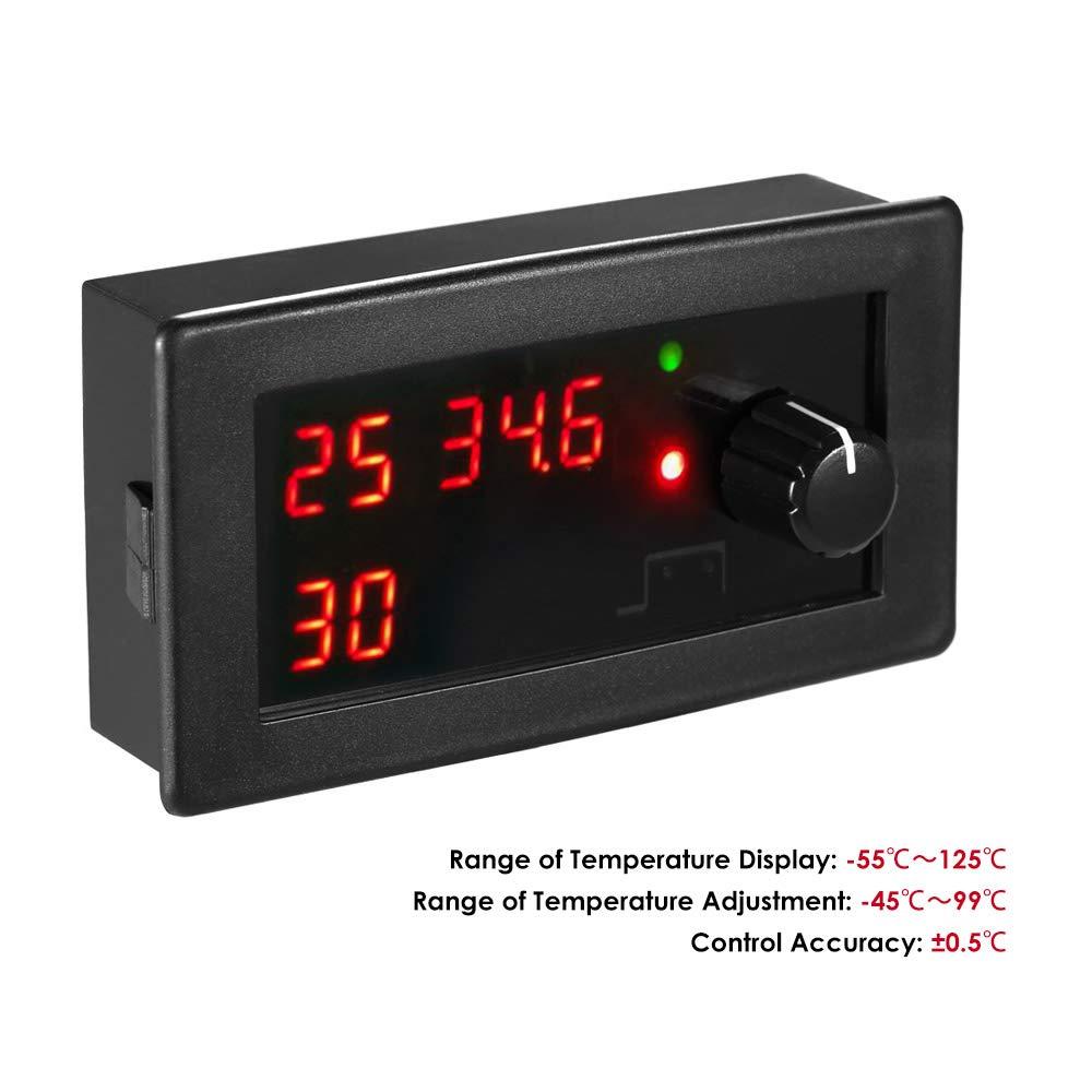 55~125 ℃ 10A Rel/é con sonda de sensor a prueba de agua KKmoon DC12V Enfriamiento digital//Termostato de calentamiento Controlador de temperatura Circuito /único de control de temperatura