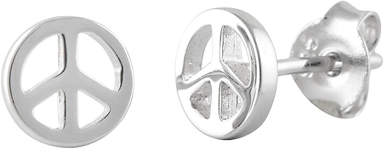 Sterling Silver 925 Peace Sign Stud Earring 6 mm USA Seller